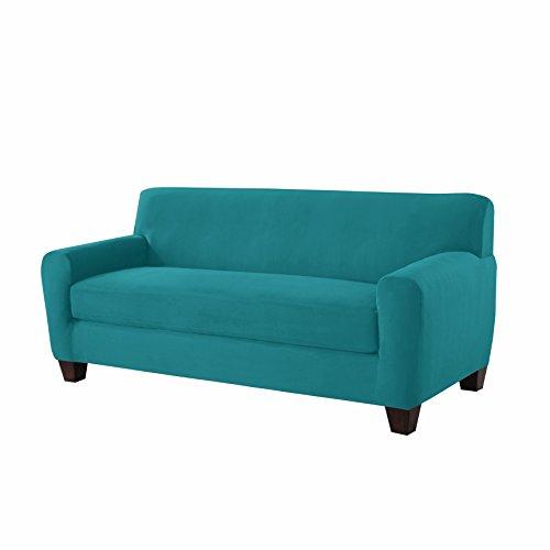 Serta 862772 Stretch Box Sofa Slipcover, Aqua