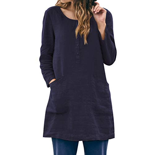 Lovor Women's Cotton Linen Tunic Tops Button Shirts Blouse Mini Dresses with Pockets (Navy,XL
