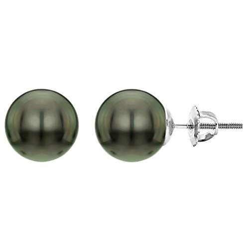 14k-White-Gold-Round-Black-Tahitian-Cultured-High-Luster-AAA-Pearl-Screw-back-Stud-Earrings