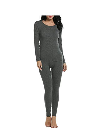 KISSMO Womens Long Thermal Underwear Johns Winter Base Layer Set Slimming Top Bottom Pajama Gray