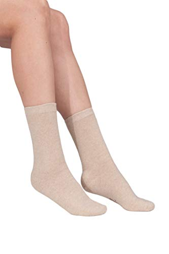 100% Cashmere Socks – Pure Cashmere Socks for Women (Sand Beige, M)