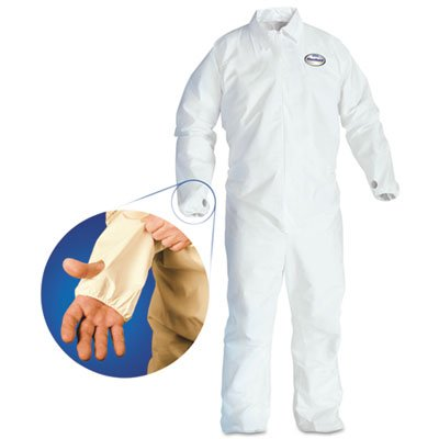 Microporous Film Disposable Coveralls (KleenGuard 42527 A40 Breathable Back Coverall with Thumb Hole, White/Blue, X-Large (Case of 25))