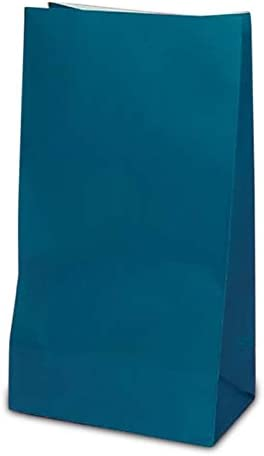 """4-5/8"""" X 8-3/16"""" Blue Colored Paper Lunch Bags - Grocery Bags - 50 each by Paper Mart"""