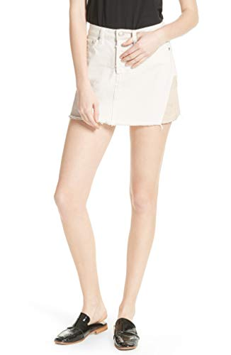 Free People Women's Patch Denim Miniskirt (Patched Up Ivory, 26)
