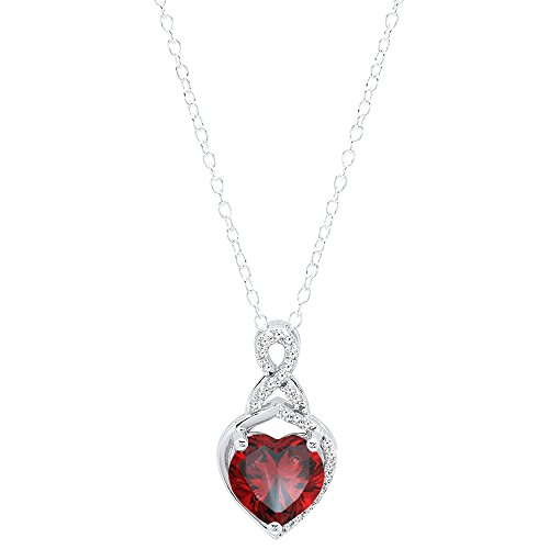 10K White Gold 8 MM Heart Shaped Garnet & Round White Diamond Ladies Heart (Gold Round Garnet Heart)