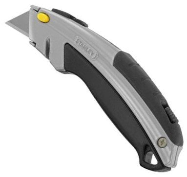 Stanley 10788 Curved Quick-Change Utility Knife, High Carbon Steel Retractable Blade, 3 Blades - Retractable Blade Knife