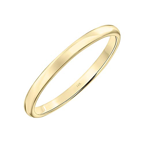 (Brilliant Expressions 14K Yellow Gold Low Dome Plain and Simple Wedding Band, 2mm, Size 5)