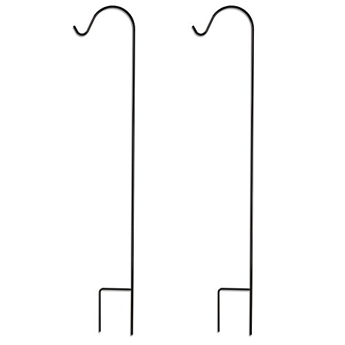 GrayBunny GB-6814 Shepherd Hook, 48 Inch, Black, 2-Pack, 2/5 Inch Thick, Super Strong, Rust Resistant Premium Metal Hook, For Use at Weddings, Hanging Plant Baskets, Lanterns, Bird Feeders & More