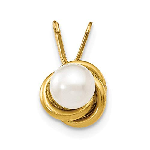 14k Yellow Gold Madi K 4mm FW Cultured Pearl Love Knot Pendant 14 mm