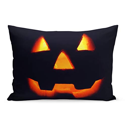 Semtomn Throw Pillow Covers Orange Autumn Jack O Lantern Silhouette on Glowing Pumpkin in Dark Halloween Red Carved Pillow Case Cushion Cover Lumbar Pillowcase for Couch Sofa 20 x 26 ()