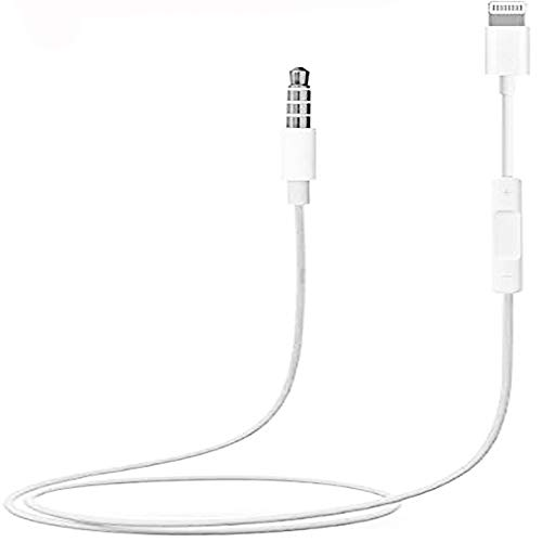 3.5mm Male Aux Stereo Audio Cable, Compatible with iOS 11 or Above, Car Aux Cable for iPhone X/ 8/7 / 7 Plus, for Car Home Stereo with Volume Control (White)