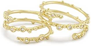 Kendra Scott Zoe Ring in Gold Plated and Cubic Zirconia Set of 2