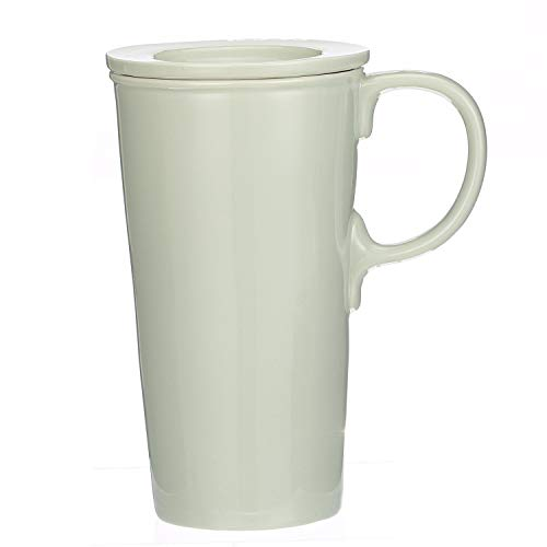 Ceramic Latte Mug 15 oz. Double Wall Ceramic Coffee Cup with Lid ()