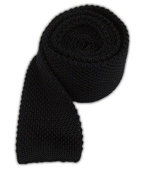 Black Knit Tie (The Tie Bar 100% Silk Knit Black Skinny Tie)