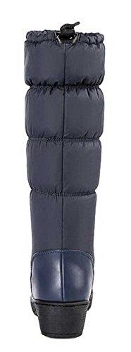Warm Toggle Boots Platform Mid Snow Heel Trendy Solid Waterproof Blue Calf Mid Women's CHFSO Winter Fleeced qwaPUP