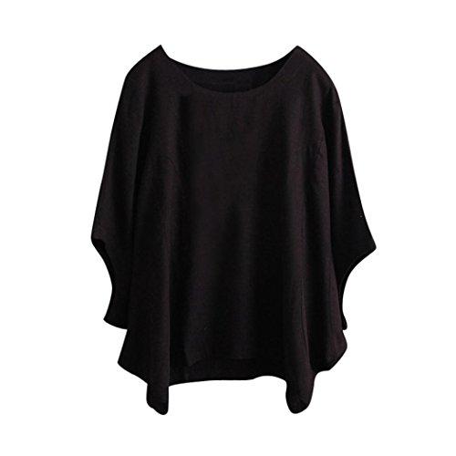 Vovovmay Women Casual Shirt,Irregular Fashion Solid Color Short Sleeved Shirt Vintage Blouse (Black, l) from Vovomay
