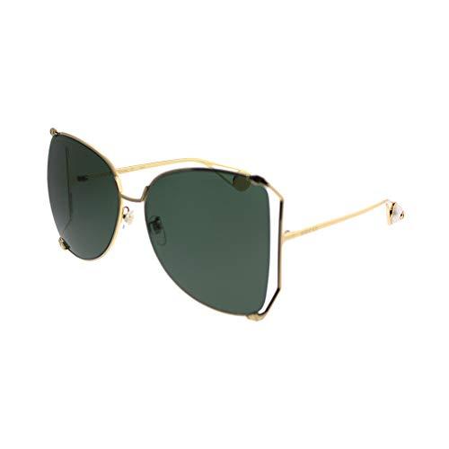 Gucci GG0252S Sunglasses 005 Gold / Green Lens 63 ()
