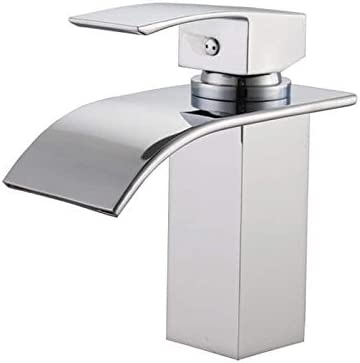Sumerain S1216CW Single Handle Deck Mount Waterfall Bathroom Sink Faucet with Hoses, Chrome