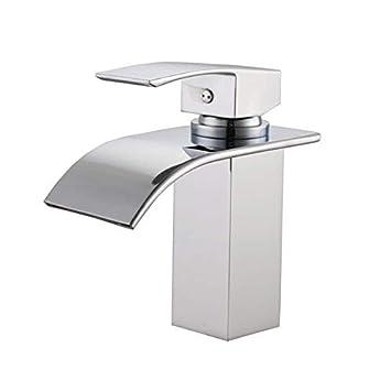 Sumerain S1216CW Single Handle Deck Mount Waterfall Bathroom Sink ...