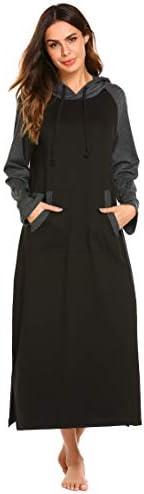 Ekouaer Sleepwear, Women Long Sleeve Hooded Robe, Casaul Full Length Nightgowns with Pocket