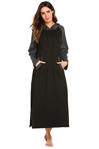 - Ekouaer Womens Modal Long Sleeve Nightgown,Casual Full Length Long Sleep Dress,Black,Large