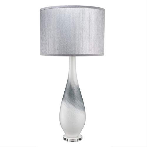 My Swanky Home Luxe Modern Art Glass Silver Gray Table Lamp | Tall 34