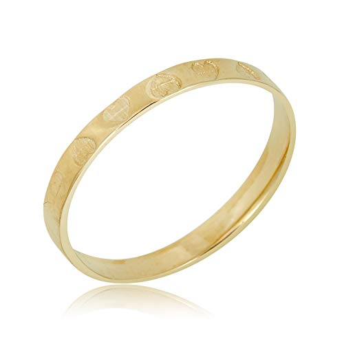 Ring Gold Baby - AVORA 10K Yellow Gold Faceted Hearts Ring for Babies and Children