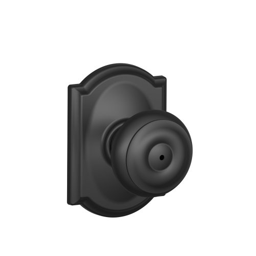 Decorative Trim Door Knob - Schlage F40 GEO 622 CAM Camelot Collection Georgian Privacy Knob, Matte Black