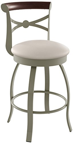 Amisco Bourbon Swivel Metal Counter Stool with Backrest, 26-Inch, -