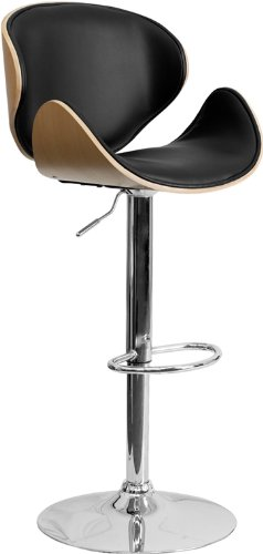 Flash Furniture Beech Bentwood Adjustable Height Bar Stool with Curved Black Vinyl Seat and Back price