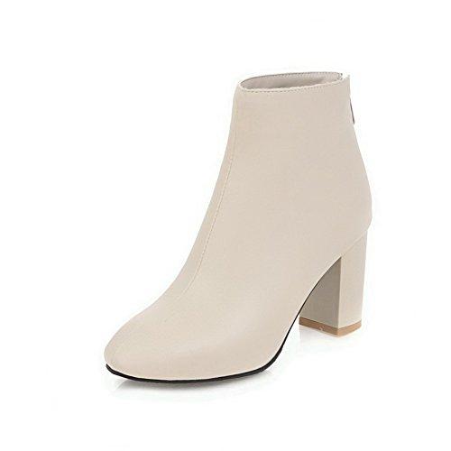 Zipper Square Boots High Women's Solid Toe Blend Beige Materials AgooLar Heels aTpqnRn