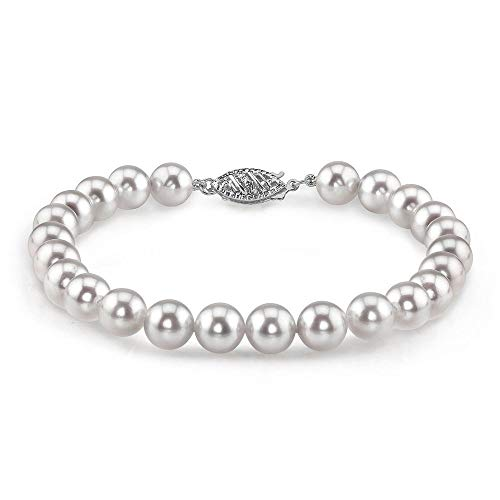 - THE PEARL SOURCE 14K Gold 6.5-7mm Round White Japanese Akoya Saltwater Cultured Pearl Bracelet for Women