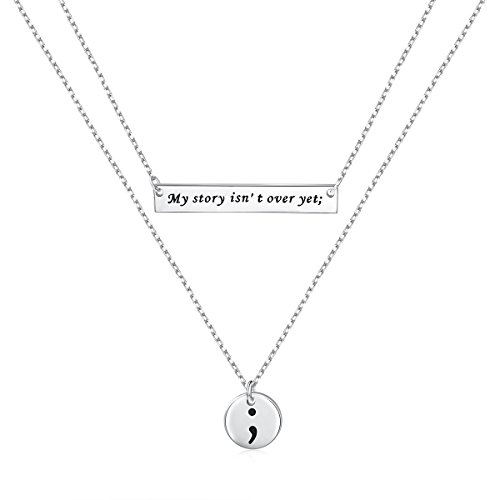SILVER MOUNTAIN Inspirational Jewelry S925 Sterling Silver My Story Isn't Over Yet Semicolon Necklace ()
