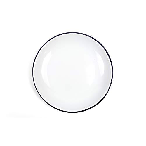 Enamelware Heavy Gauge Salad Coupe Plate, 8.1 inch, Vintage White/Black (4)