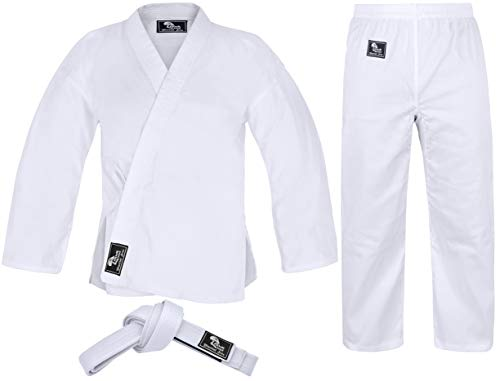 "Hawk Sports Karate Uniform for Kids & Adults Lightweight Student Karate Gi Martial Arts Uniform Free Belt (White, 3 (5'3"" / 130lbs))"
