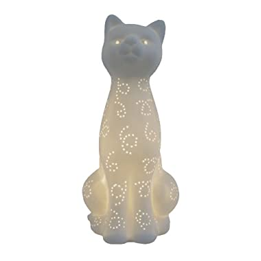 Simple Designs LT3056-WHT White Porcelain Animal Shaped Table Lamp, Kitty Cat