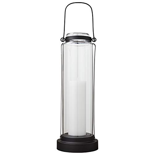 Round Post Stone (Stone & Beam Modern Casual Decorative Metal and Glass Lantern with Candle, 25