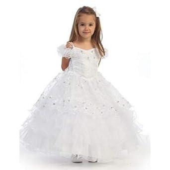c59322d7a44 Amazon.com  Angel Garment White Organza Ruffle Pageant Flower Girl ...