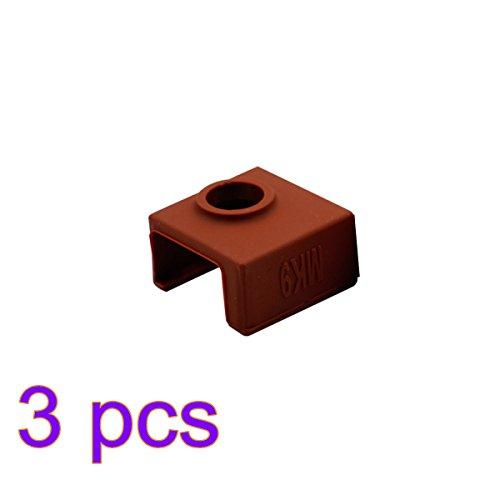 UKCOCO 3pcs Silicone Protective Case Cover 3D Printer Accessory for MK7/8/9 Aluminum Heater Block (Coffee) by UKCOCO