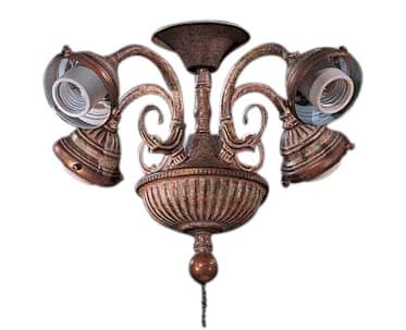 Curly Cue Four Light Branched Universal Ceiling Fan Light Kit Finish: Antique Pecan