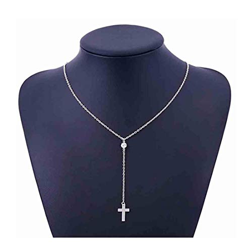 Yfe Cross Pendant Necklace Jewelry Crystal Drop Necklace for Women and Girls Minimlaist Y Style Necklaces (Silver)