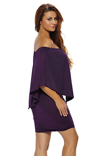 Ladies Purple Off hombro RUCHED lado bodycon vestido club wear tamaño XL UK 14 –�?6 UE 42 –�?4
