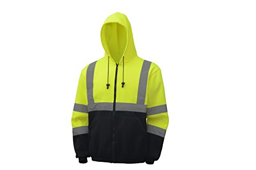 CJ Safety CJHVSS3001 ANSI Class 3 High Visibility Black Bottom Hoodie Safety Sweatshirt (Medium, Green) 2
