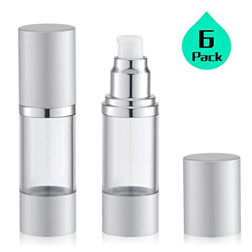 1 Oz Empty Silver Airless Pump Bottle | Travel Lotion Pump Container, Airless Dispenser - for Refillable Cosmetic Bottle, Foundation Pump BPA FREE (30ML, Pack of 6)