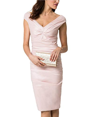 LE CHÂTEAU Stretch Taffeta V-Neck Cocktail Dress,L,Blush -
