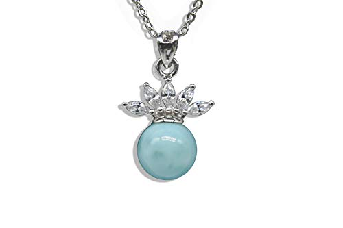 - Tuoke Sterling Silver Jewelry Natural Larimar Pendant Necklace Fashion Blue Queen's Crown Larimar Pendant with 14k White Gold Plated Silver 18