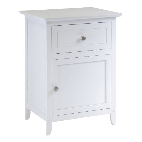 (Winsome Wood Night Stand/Accent Table with Drawer and Cabinet for Storage, White)