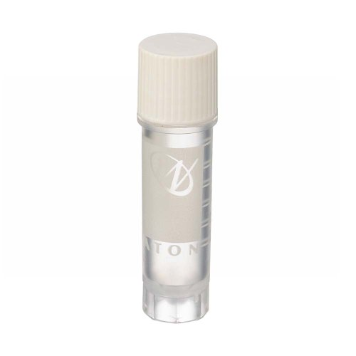 Wheaton W985863 Polypropylene Conical 2mL CryoElite Cryogenic Freestanding Vial, with Writing Patch and External Threaded White Cap (Case of 500)