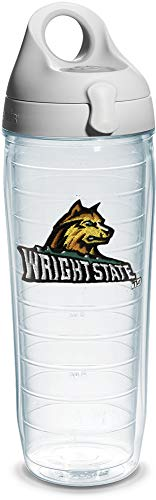 Tervis Wright State University Emblem Individual Water Bottle with Gray Lid, 24 oz, Clear - - University Wright State