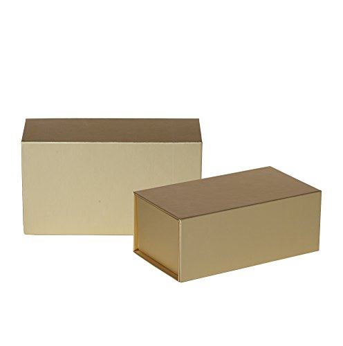 Jillson Roberts 2-Count Medium Magnetic Closure Gift Boxes Available in 5 Colors, Metallic Gold Matte